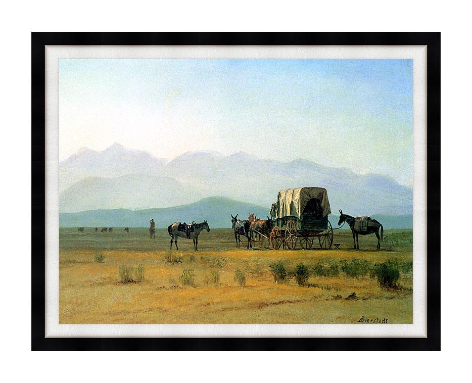 Albert Bierstadt Surveyor's Wagon in the Rockies with Modern Black Frame