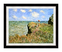 Claude Monet Walk On The Cliff At Pourville canvas with modern black frame