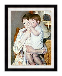 Mary Cassatt Baby On His Mothers Arm canvas with modern black frame