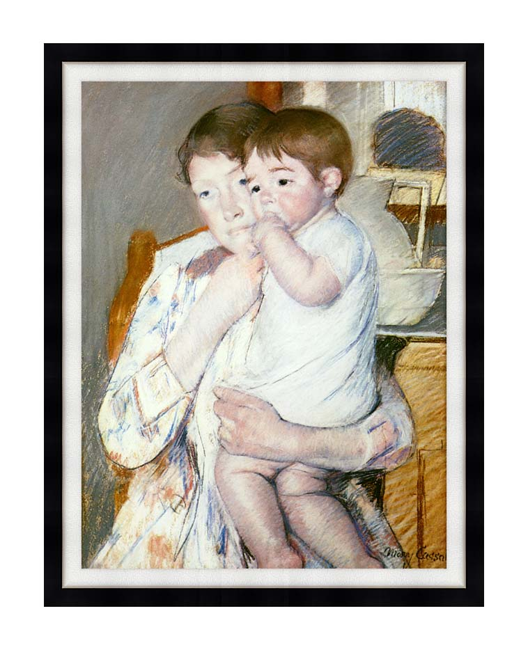 Mary Cassatt Baby on His Mother's Arm with Modern Black Frame