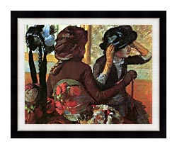 Edgar Degas At The Milliners canvas with modern black frame