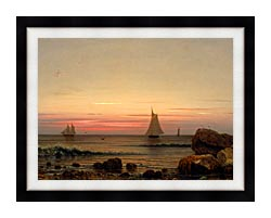 Martin Johnson Heade Sailing Off The Coast Detail canvas with modern black frame