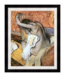Edgar Degas After The Bath Woman Drying Herself canvas with modern black frame