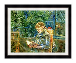 Berthe Morisot Little Girl Reading canvas with modern black frame