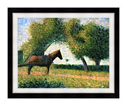 Georges Seurat Horse canvas with modern black frame