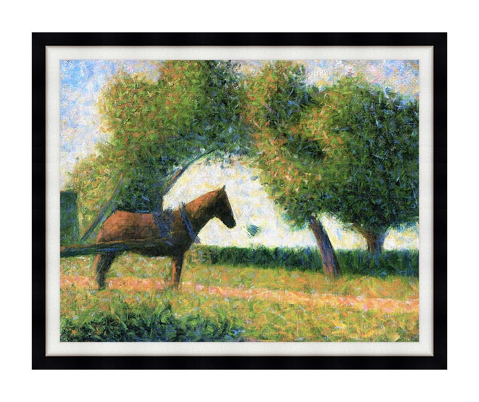 Georges Seurat Horse with Modern Black Frame