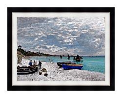 Claude Monet Beach At Sainte Adresse canvas with modern black frame