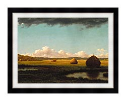 Martin Johnson Heade Summer Showers Detail canvas with modern black frame