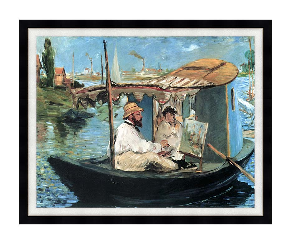 Edouard Manet Claude Monet in his Floating Studio with Modern Black Frame