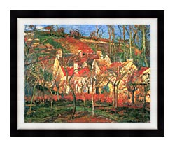 Camille Pissarro The Red Roofs canvas with modern black frame