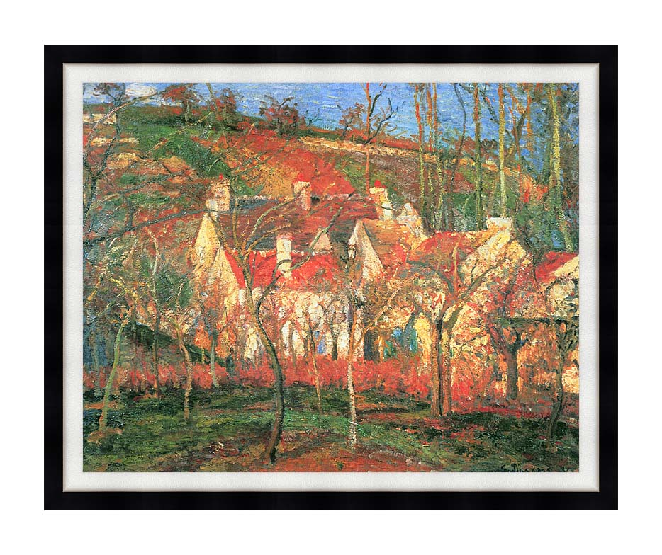 Camille Pissarro The Red Roofs with Modern Black Frame