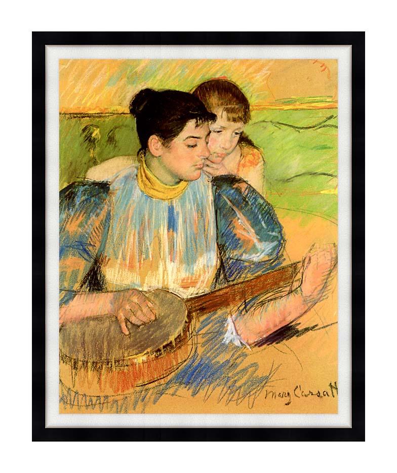 Mary Cassatt The Banjo Lesson with Modern Black Frame