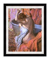 Edgar Degas Seated Bather Drying Herself canvas with modern black frame