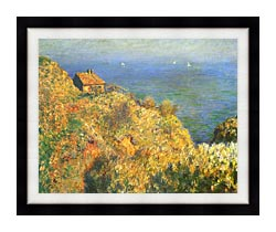 Claude Monet The Fishermans House Varengeville canvas with modern black frame