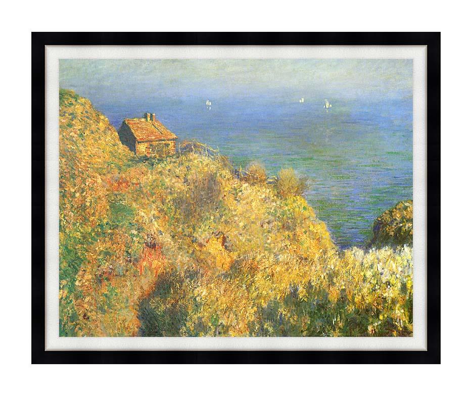 Claude Monet The Fisherman's House, Varengeville with Modern Black Frame