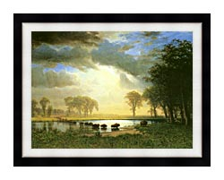 Albert Bierstadt The Buffalo Trail canvas with modern black frame