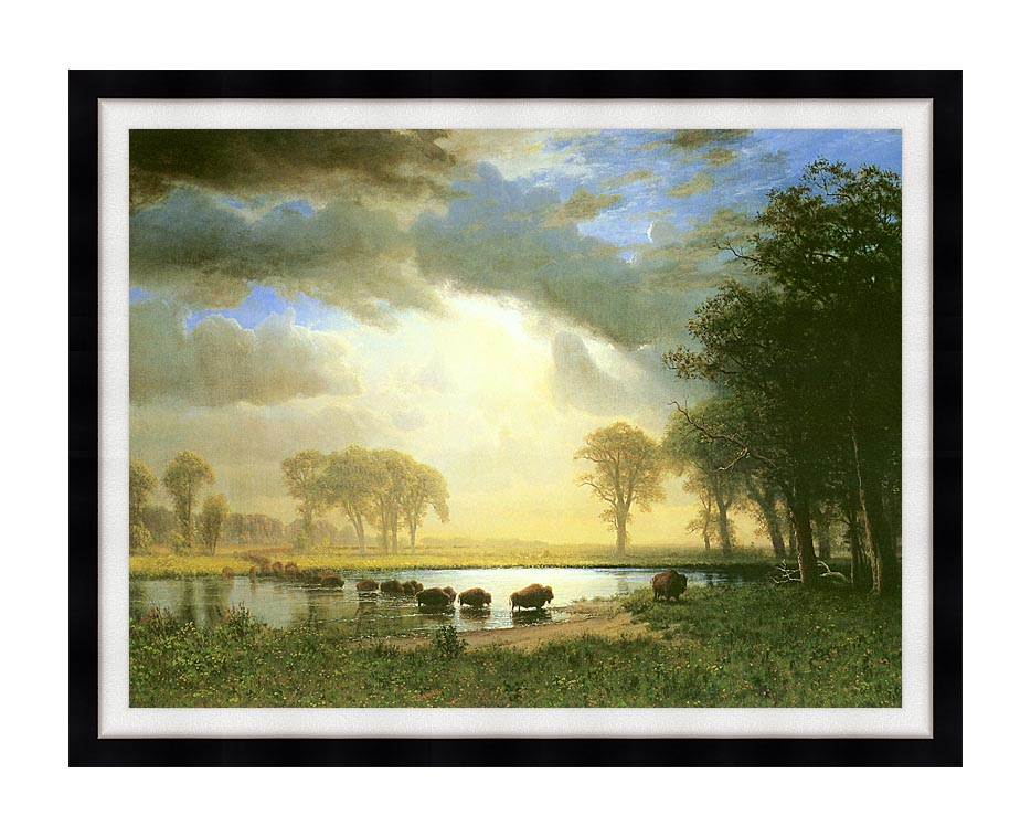 Albert Bierstadt The Buffalo Trail with Modern Black Frame