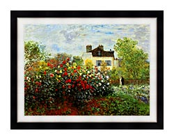 Claude Monet Monets Garden At Argenteuil canvas with modern black frame