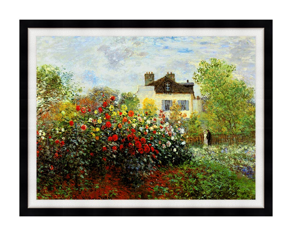 Claude Monet Monet's Garden at Argenteuil with Modern Black Frame