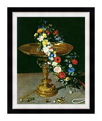 Jan Brueghel The Elder Gold Cup With Flower Wreath And Jewel Box Portrait Detail canvas with modern black frame
