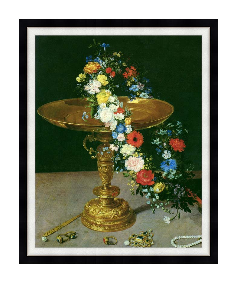 Jan Brueghel the Elder Gold Cup with Flower Wreath and Jewel Box (portrait detail) with Modern Black Frame
