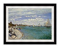 Claude Monet Regatta At Sainte Adresse canvas with modern black frame