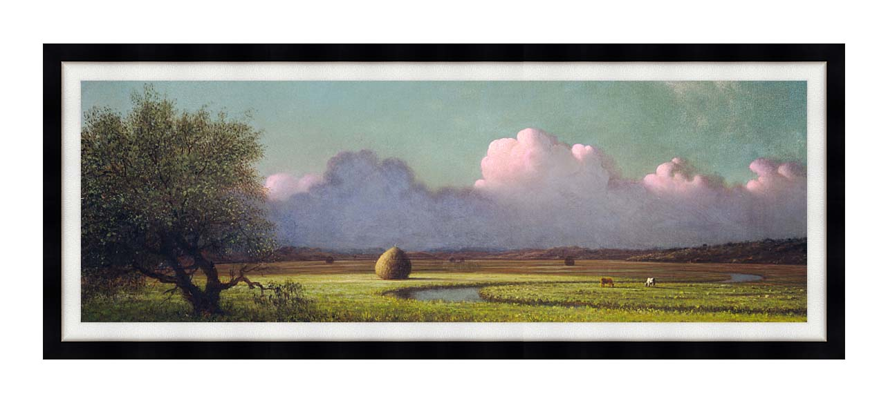 Martin Johnson Heade Sunlight and Shadow, The Newbury Marshes (Panoramic View) with Modern Black Frame