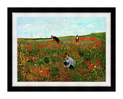 Mary Cassatt Poppies In A Field canvas with modern black frame
