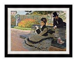 Claude Monet Camille Monet On A Garden Bench canvas with modern black frame