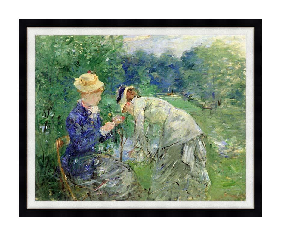 Berthe Morisot In the Garden 1879 with Modern Black Frame