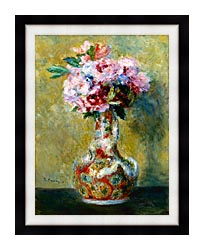 Pierre Auguste Renoir Bouquet In A Vase canvas with modern black frame