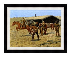 Frederic Remington The Coming And Going Of The Pony Express canvas with modern black frame
