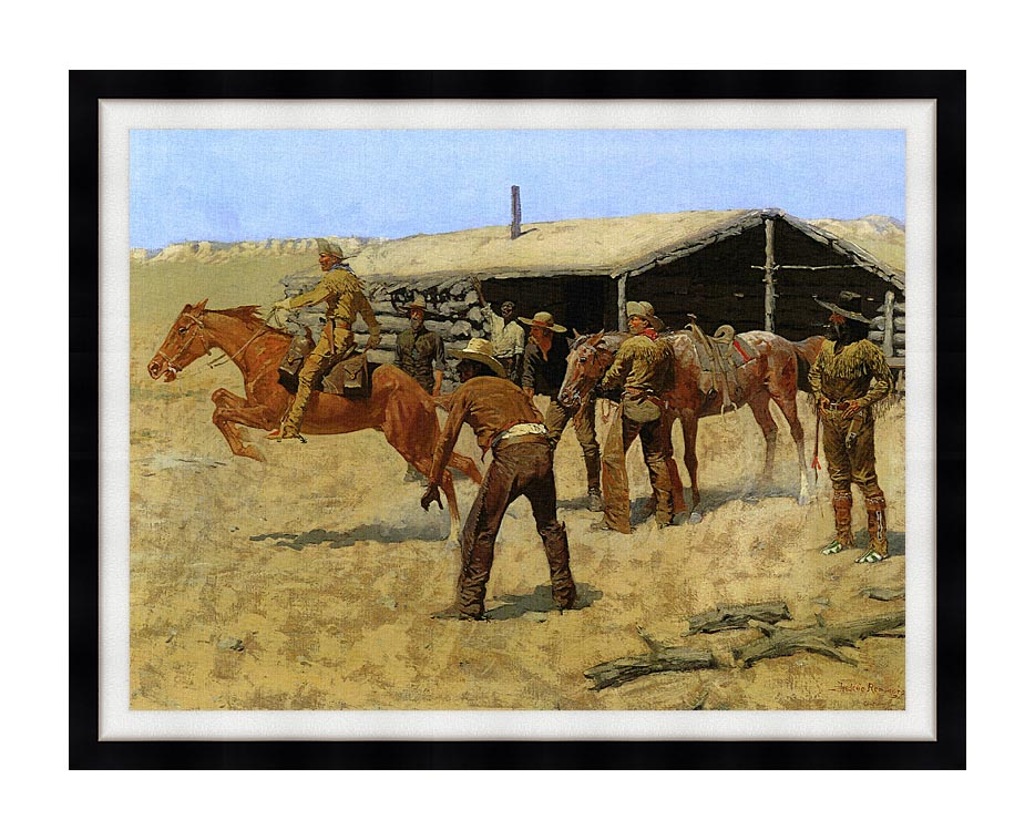Frederic Remington The Coming and Going of the Pony Express with Modern Black Frame