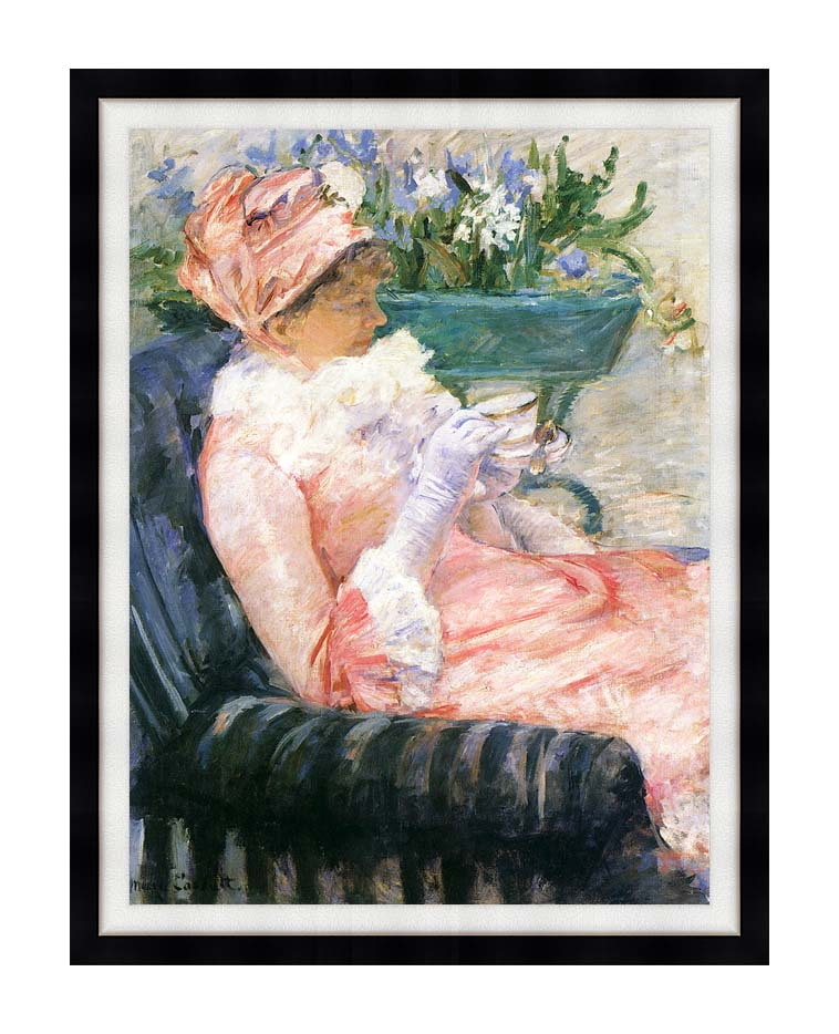 Mary Cassatt The Cup of Tea with Modern Black Frame