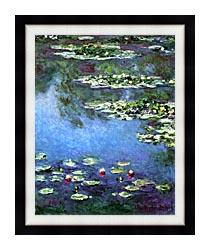 Claude Monet Water Lilies 1906 Portrait Detail canvas with modern black frame