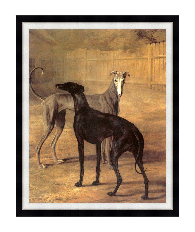 Jacques Laurent Agasse Rolla and Portia with Modern Black Frame