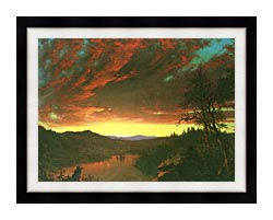 Frederic Edwin Church Twilight In The Wilderness Detail canvas with modern black frame