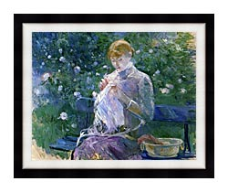 Berthe Morisot Pasie Sewing In The Garden At Bougival canvas with modern black frame