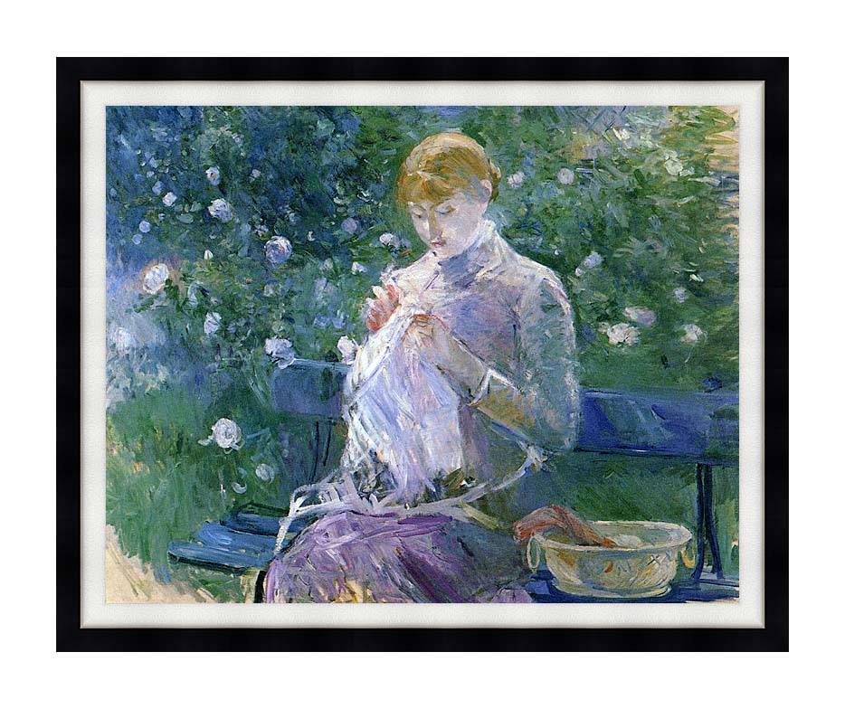 Berthe Morisot Pasie Sewing in the Garden at Bougival with Modern Black Frame