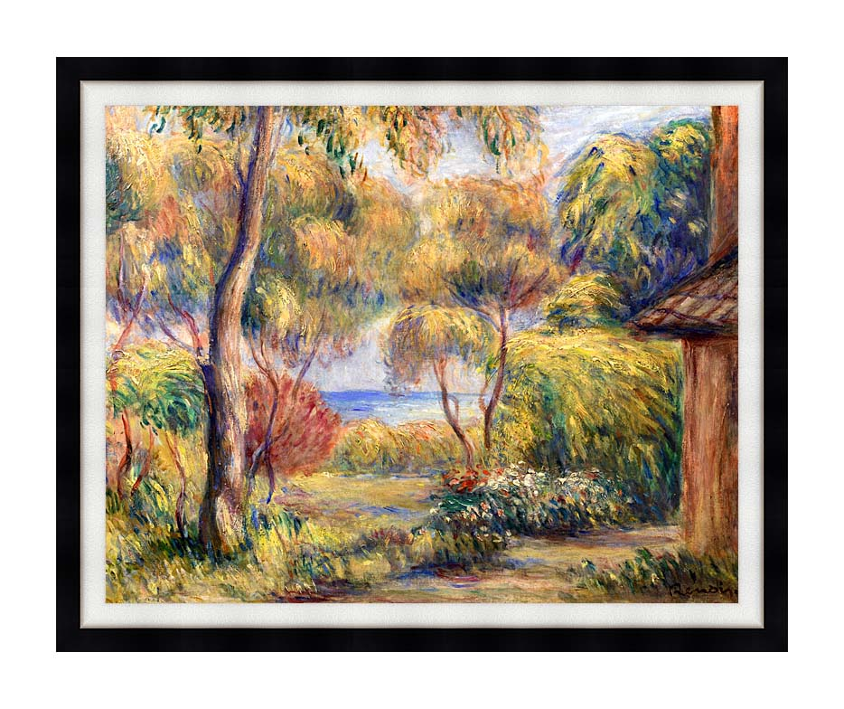 Pierre Auguste Renoir Landscape at Cagnes with Modern Black Frame