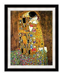 Gustav Klimt The Kiss Detail canvas with modern black frame