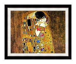 Gustav Klimt The Kiss Landscape Detail canvas with modern black frame