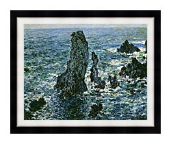 Claude Monet The Pyramids Of Port Coton canvas with modern black frame