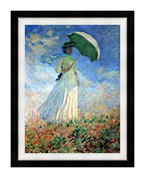 Claude Monet Woman With Umbrella Turned To The Right canvas with modern black frame