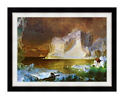 Frederic Edwin Church The Icebergs Detail canvas with modern black frame
