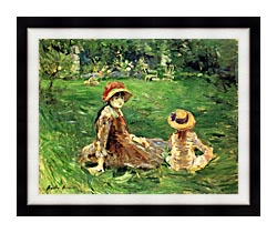 Berthe Morisot In The Garden At Maurecourt canvas with modern black frame
