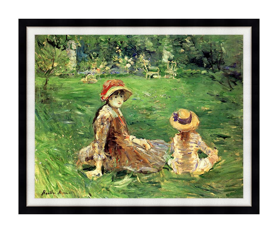 Berthe Morisot In the Garden at Maurecourt with Modern Black Frame