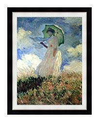 Claude Monet Woman With Umbrella Turned To The Left canvas with modern black frame