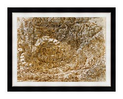 Leonardo Da Vinci A Deluge canvas with modern black frame