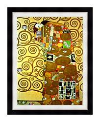 Gustav Klimt Fulfillment Detail canvas with modern black frame